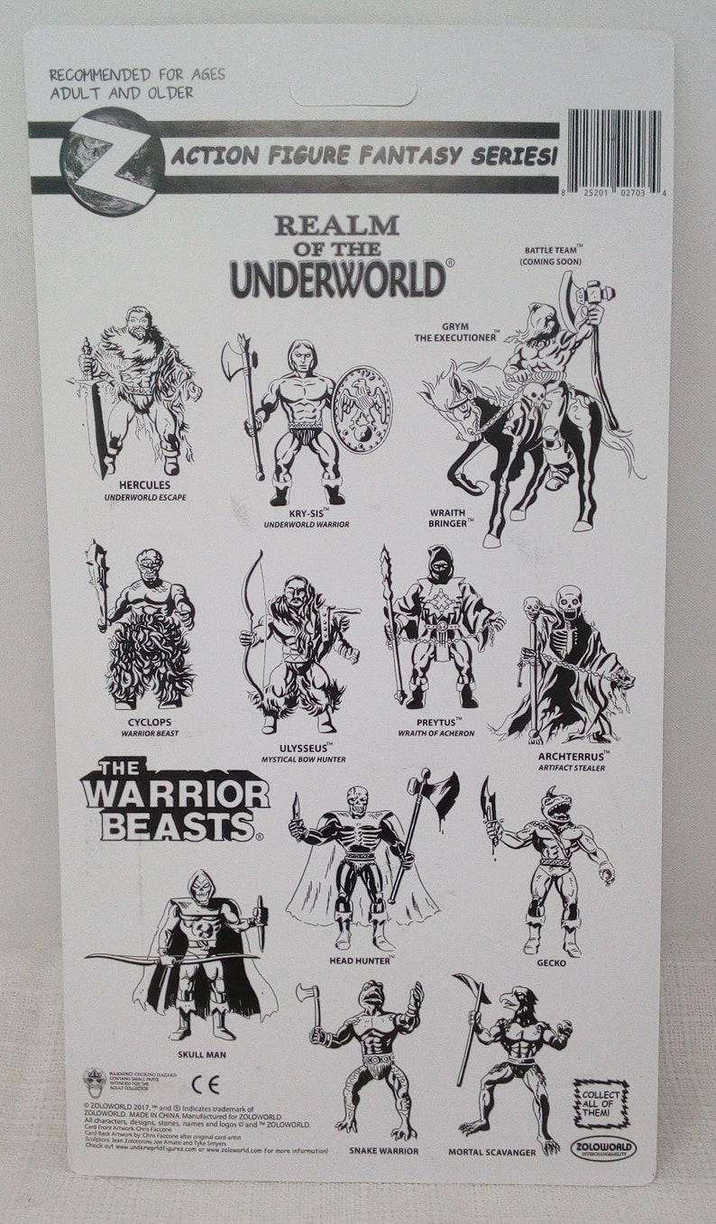 Zoloworld Realms of the Underworld Ulyssius Bow Hunter Rotu Carded Action Figure  MOTU KO