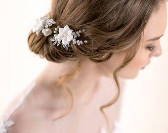 Gardenia Hair Pins - Bridal Hairpins - Hair Pins Wedding with Pearl - Ivory Flower Hair Pins  - Wedding Accessory