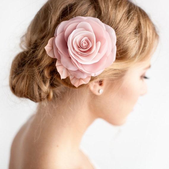 Blush pink flower hair clip bridal rose hair clip blush etsy image 0 mightylinksfo