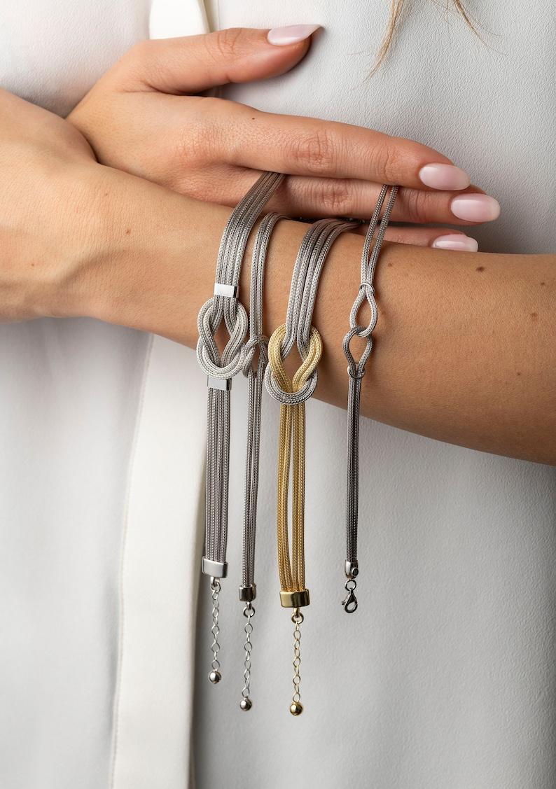 Sterling Silver Knot Chain Bracelet Wheat Chain Bangle Byzantine Chain Handmade Vintage Bracelet Greek Jewelry