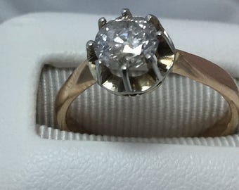 1 CARAT Old European Cut Diamond 1920s Antique Engagement Ring 14K Rose Gold Solitaire Ring I2 H-I Color Round Cut