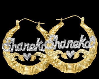 Bamboo Earrings | Name Earrings | Celebrity Earrings  | Bamboo Style | Big Hoop Earrings | Classic Hoops|