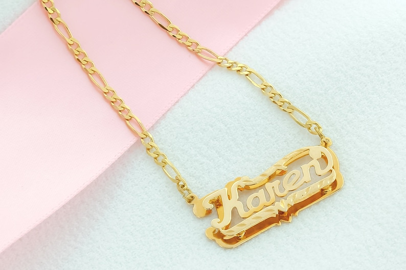 19a4f4d7ca0a Double Name Plate Name Plate Diamond Cut Your Name