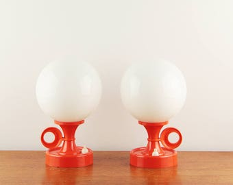 Vintage pair of funky bed lamps shaped as candle holder - ca. 1970s