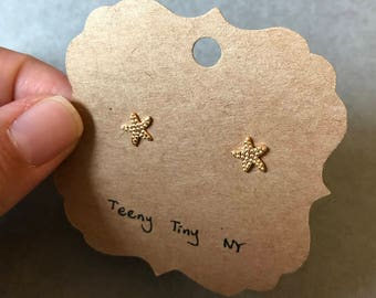 Gold Tiny Mini Starfish Stud Earrings Type B - Gold plated over Sterling Silver