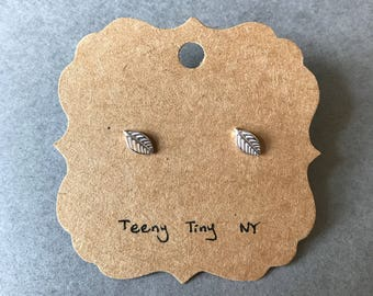 Silver Tiny Leaf Stud Earrings - Sterling Silver [SE1001]