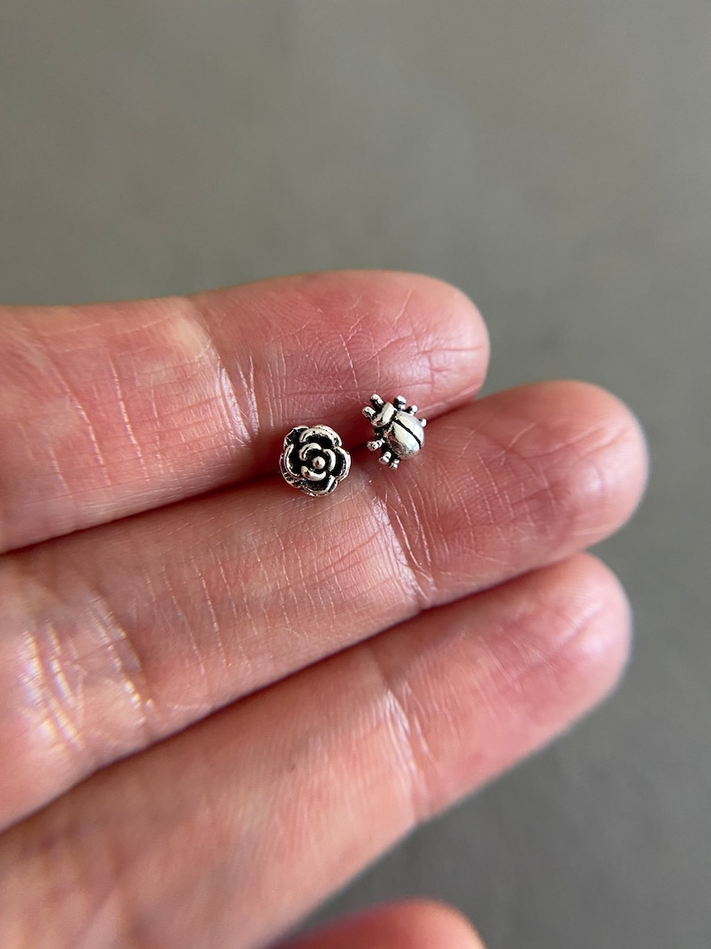Tiny Mini Rose and Ladybug Stud Earrings Sterling Silver