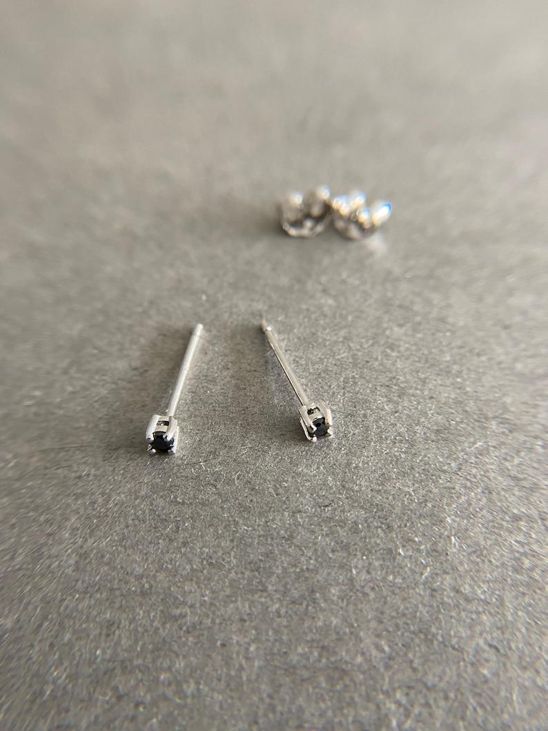Black CZ 2mm 3mm 4mm Stud Earrings Sterling Silver
