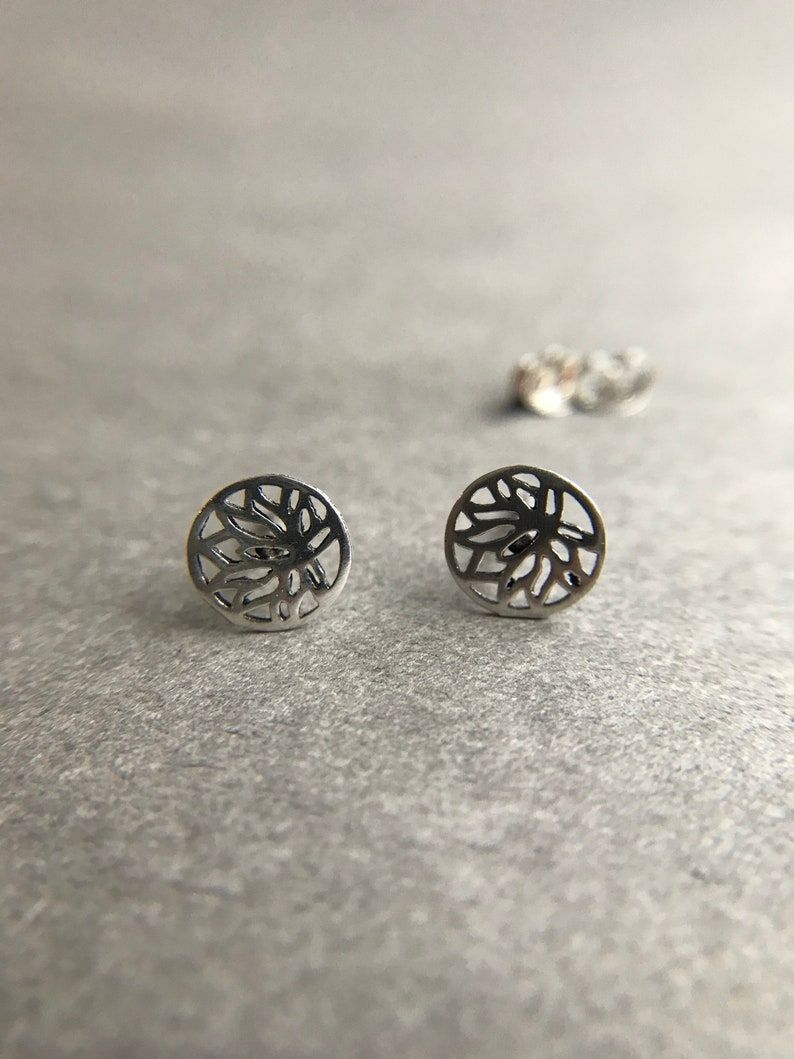 Sterling Silver Silver Lotus Flower Stud Earrings ESV1025