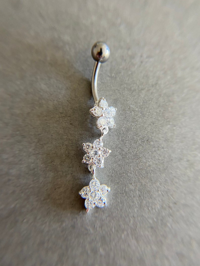 Belly Button Jewelry Sterling Silver Sterling Silver 3 CZ Flower Belly Button Rings Belly Piercing Navel Piercing,Belly Barbell