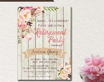 Surprise Retirement party invitation invite rustic white wood flower floral cottage chic Printable DIY (189a) Digital Downloadable (.jpg)