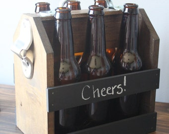 Hand Crafted Beer Carrier with Chalkboard Rails, bachelor gift, Housewarming, christmas gift, host/hostess gift