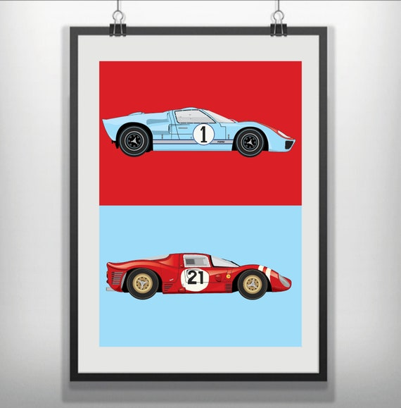"Ford v Ferrari version 1 Movie Poster 24/"" x 36/"" or  27/""x 40/"""
