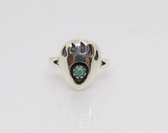 Turquoise bear paw ringsterling silver genuine 925 solid band turquoiseLarge Small sizes available  made in USA
