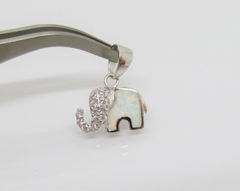 Personalized Gift Gold Elephant Charm Bracelet White Imitation Opal Charm Elephant Jewelry Opal Elephant Charm N1446