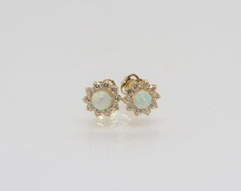 82fff919a Gift Boxed 6mm 9ct Yellow Gold White Opal Round Stud earrings