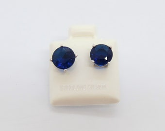 3cfd46127 Vintage Sterling Silver Round cut Blue Sapphire Stud Earrings 8MM