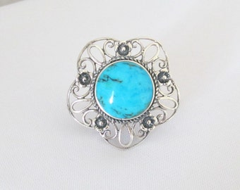 Vintage Sterling Silver Natural Turquoise Flower Ring Size 8.25