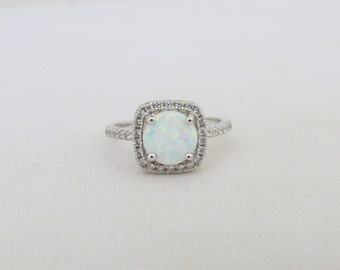 Vintage Sterling Silver White Opal & White Topaz Engagement Ring Size 7