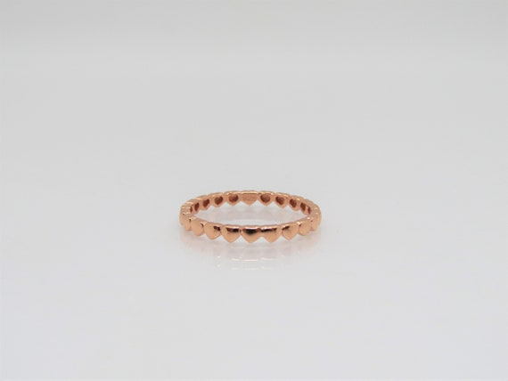 Wedding Band Ring size O Sterling Silver /& Rose Gold Heart Eternity