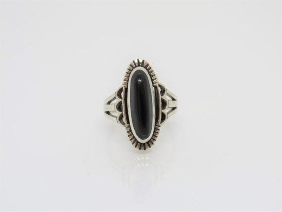 Vintage Southwestern Sterling Silver Black Onyx Ring Size 8 by Etsy