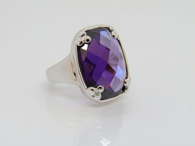 Vintage Sterling Silver Amethyst Dome Ring Size 10