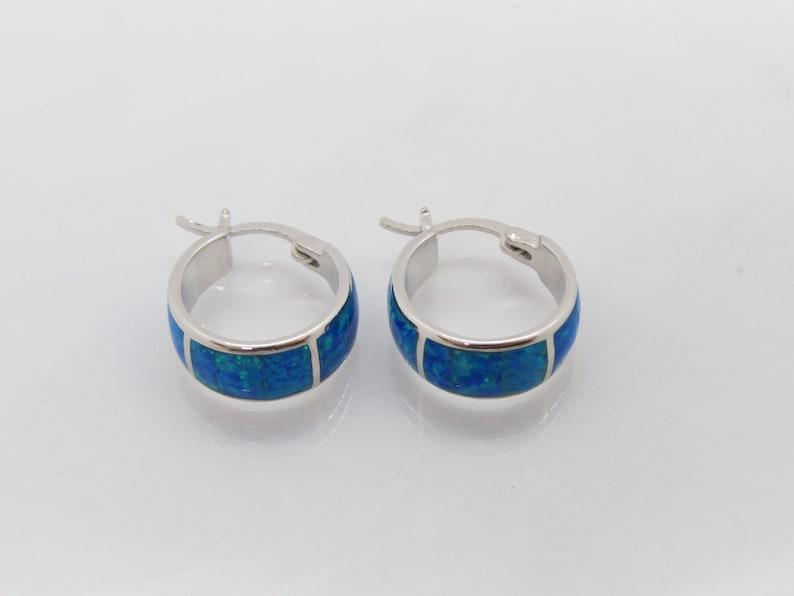 Vintage Sterling Silver Blue Opal Earrings