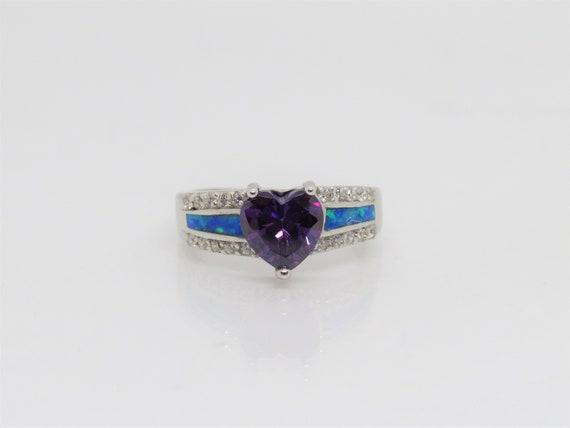 Blue Opal /& White Topaz Ring Size 8 Vintage Sterling Silver Heart cut Amethyst
