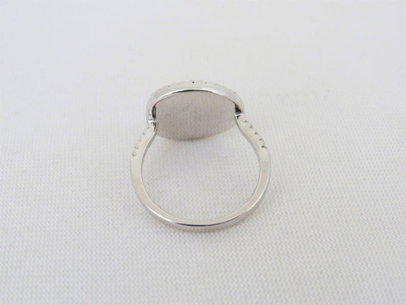 Vintage Sterling Silver White Opal /& White Topaz Ring Size 7