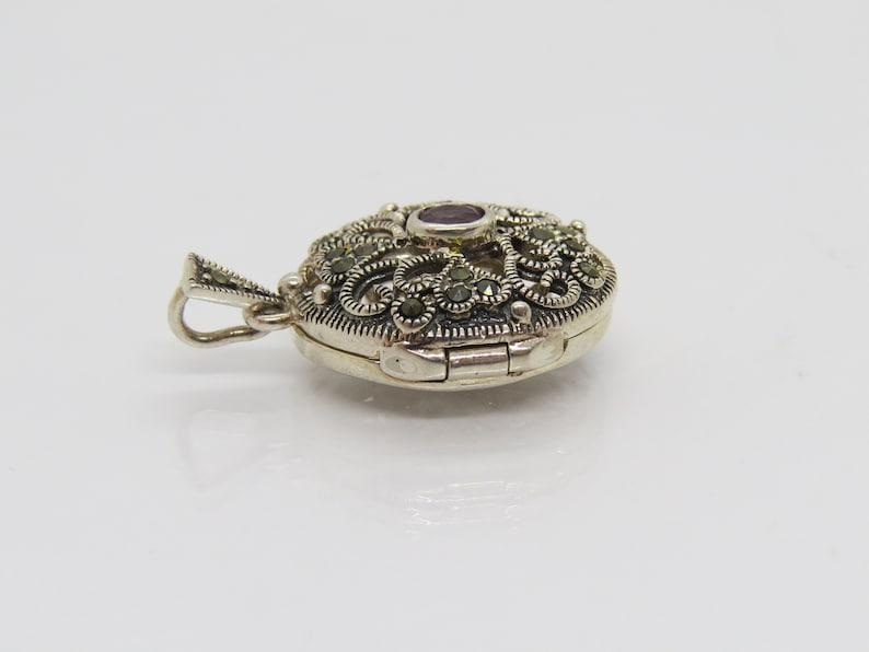 Pillbox Locket Vintage Sterling Silver Amethyst /& Marcasite Oval Pendant