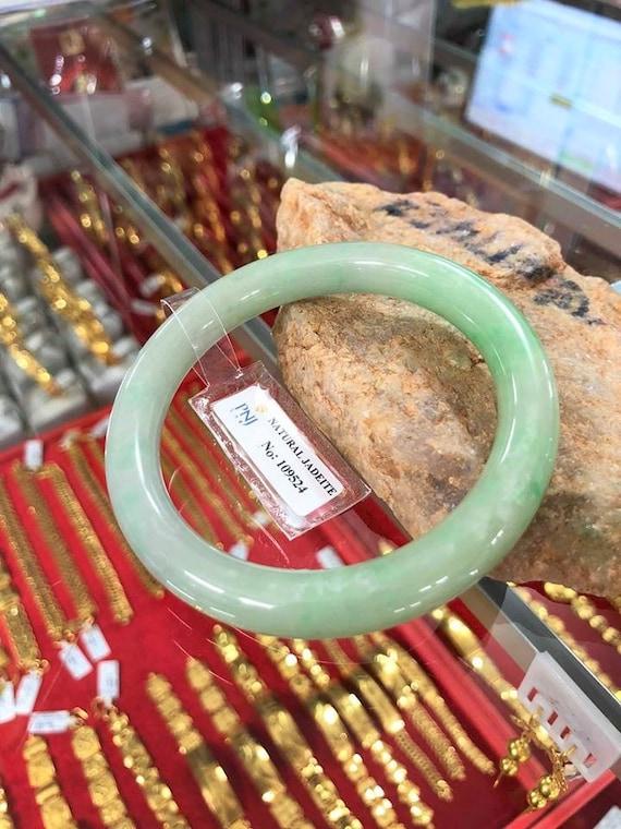 Vintage Translucent Natural Green White Jadeite Jade Bangle Bracelet 59.3MM