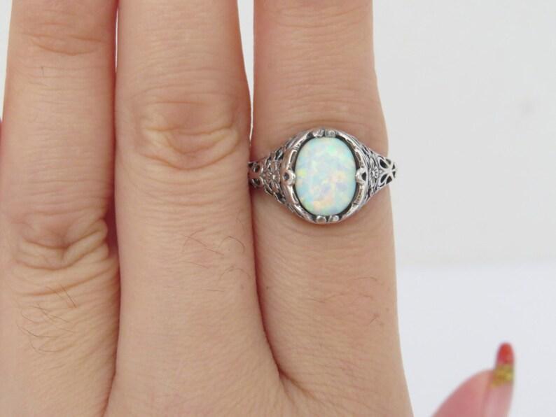 Vintage Sterling Silver White Opal Filigree Ring Size 7