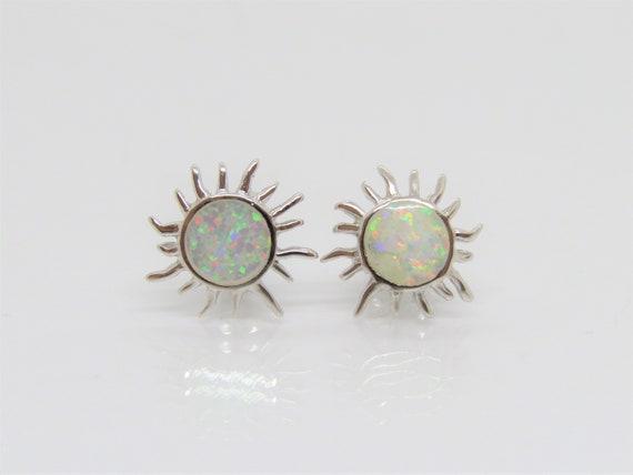 Vintage Sterling Silver Round cut White Opal Stud Earrings