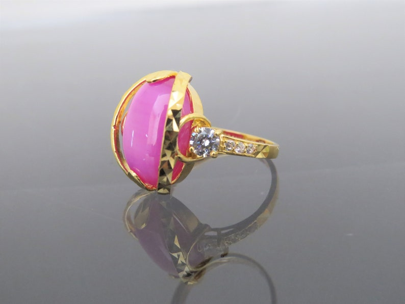 Vintage 18K Solid Yellow Gold Star Ruby /& White Topaz Ring Size 7.75