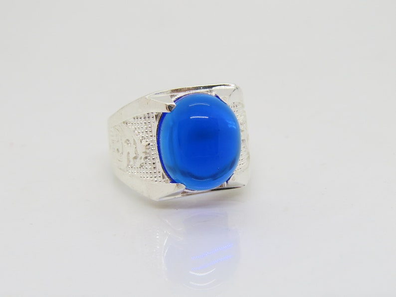 Vintage Sterling Silver Blue Sapphire Cabochon Ring Size 8.5