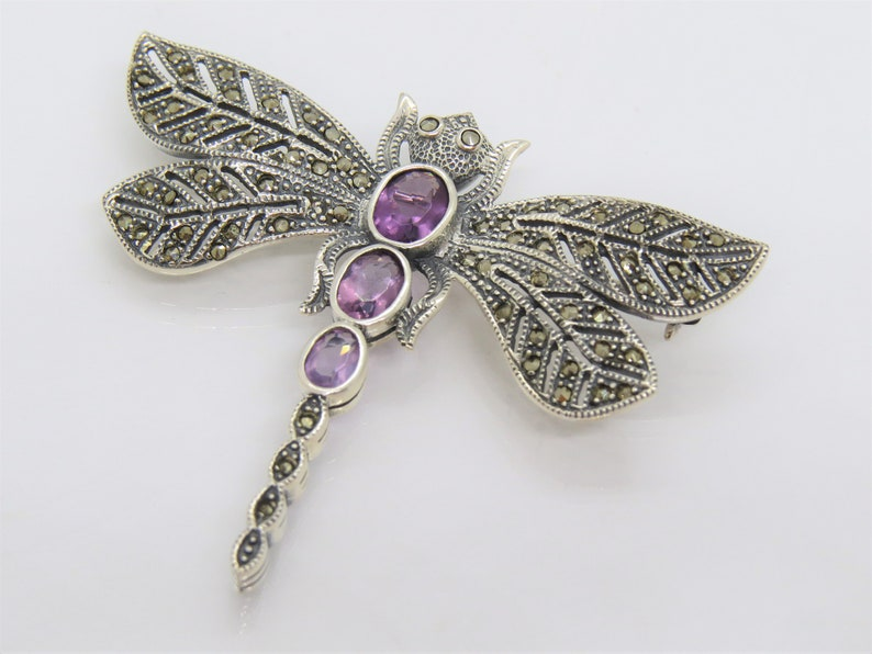 Vintage Sterling Silver Marcasite /& Amethyst Dragonfly Pin Brooch