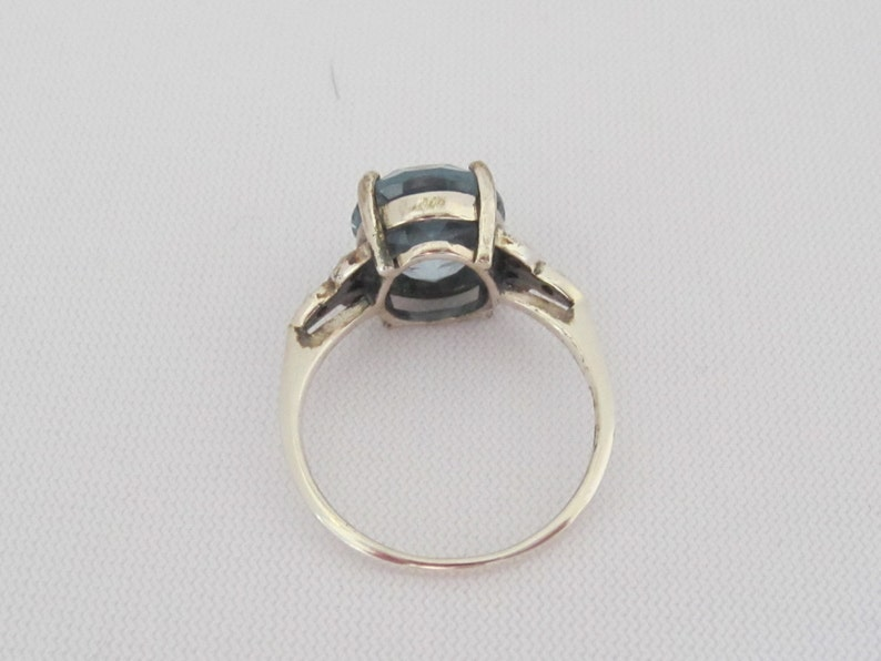 Vintage Sterling Silver Aquamarine /& Seed Pearl Ring Size 6