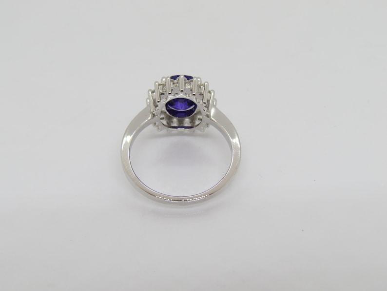 Vintage Sterling Silver Amethyst /& White Topaz Halo Ring Size 7