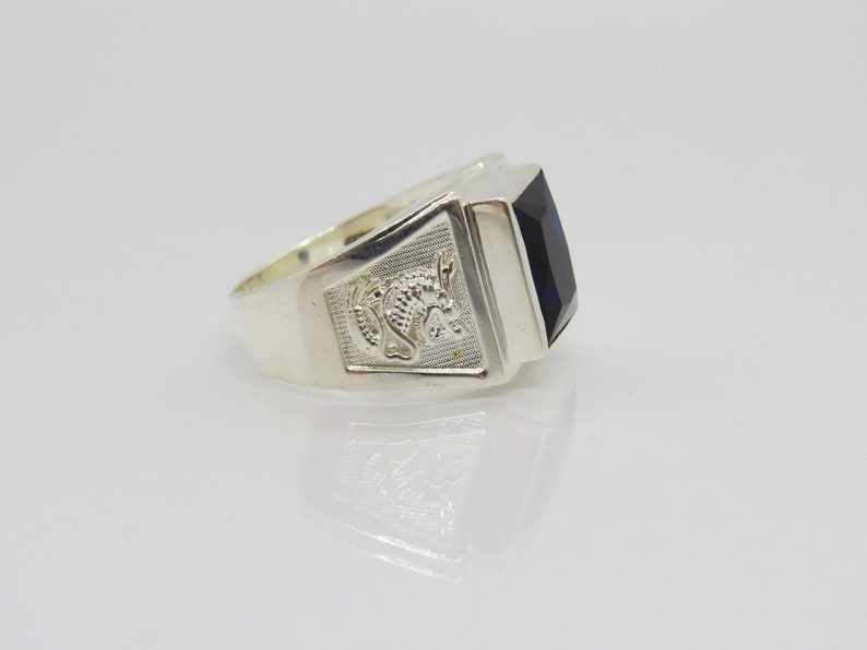 Vintage Sterling Silver Blue Sapphire Dragon Pixiu Men/'s Ring Size 9.25