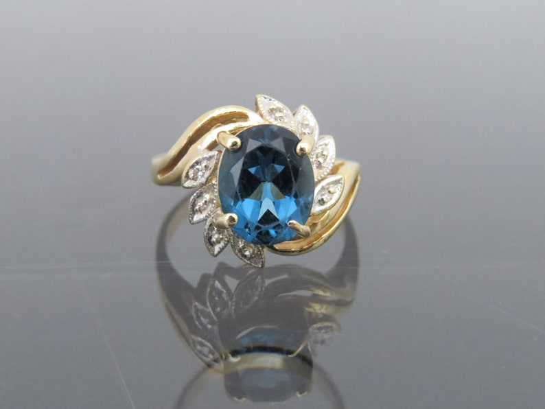 Vintage 14K Solid Yellow Gold 2.58ct London Blue Topaz /& Diamond Ring Size 7.5