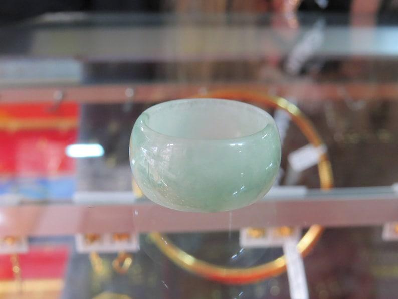 Vintage Translucent Natural Green Jadeite Jade Band Ring Size 9.75