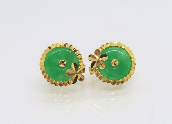 White Jadeite Jade /& White Topaz Donut Circle Pendant Vintage 18K Solid Yellow Gold Green