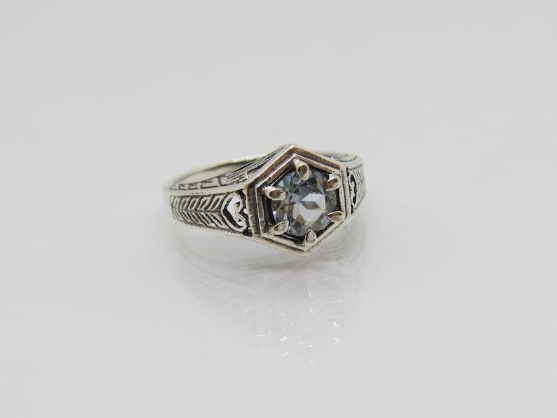 Vintage Sterling Silver Aquamarine Carved Dome Ring Size 8