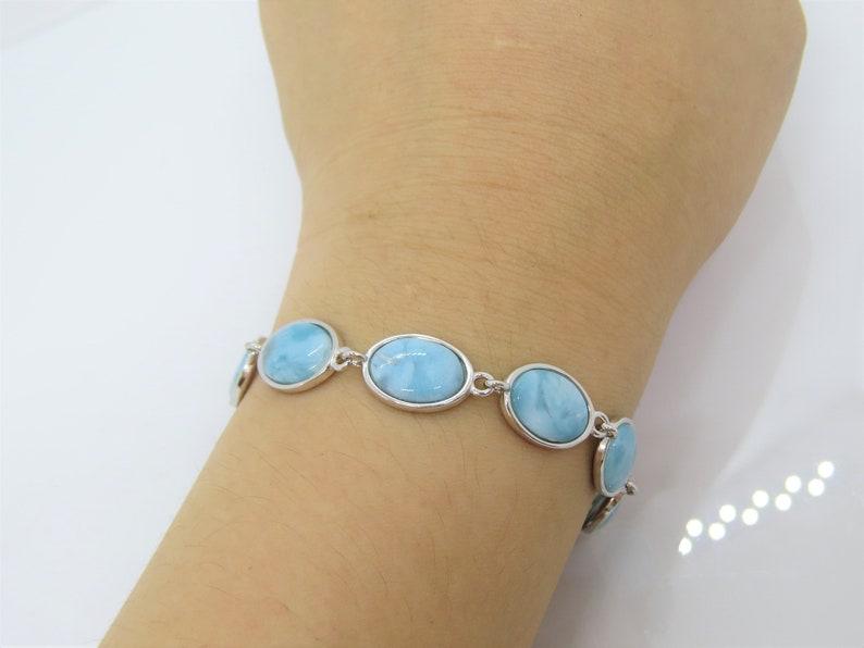 Vintage Sterling Silver Natural Oval Larimar Link Chain Bracelet 7 12/'/'