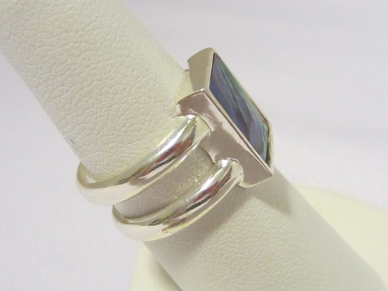 Vintage Sterling Silver Inlay Abalone Ladies Band Ring Size 7.5