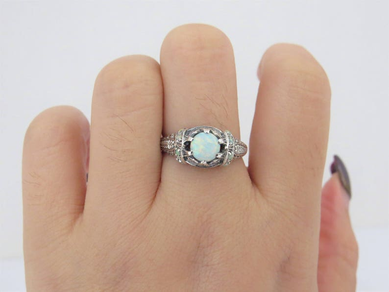 Vintage Sterling Silver Fire Opal Filigree Ring Size 6