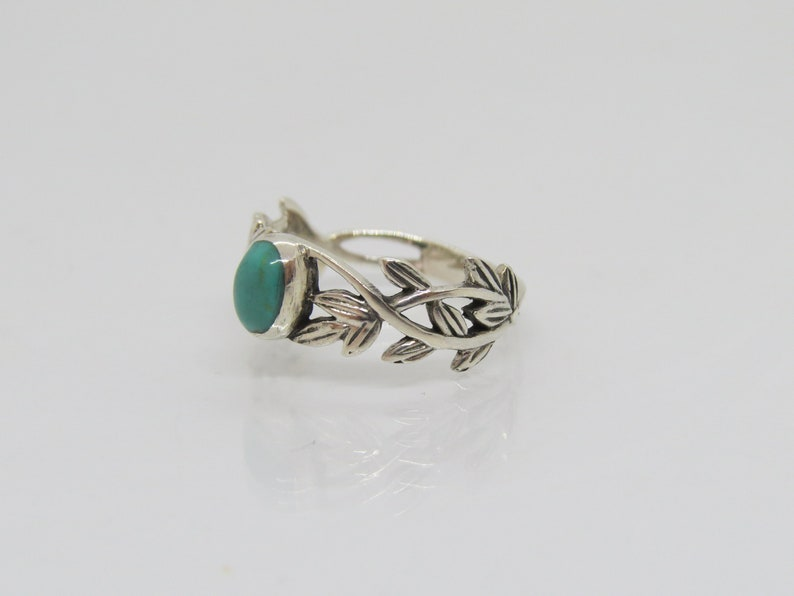 Vintage Sterling Silver Turquoise Twisted Leaf Ring Size 7