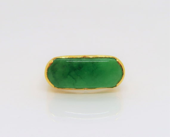 Vintage 18K Solid Yellow Gold Green Jadeite Jade S