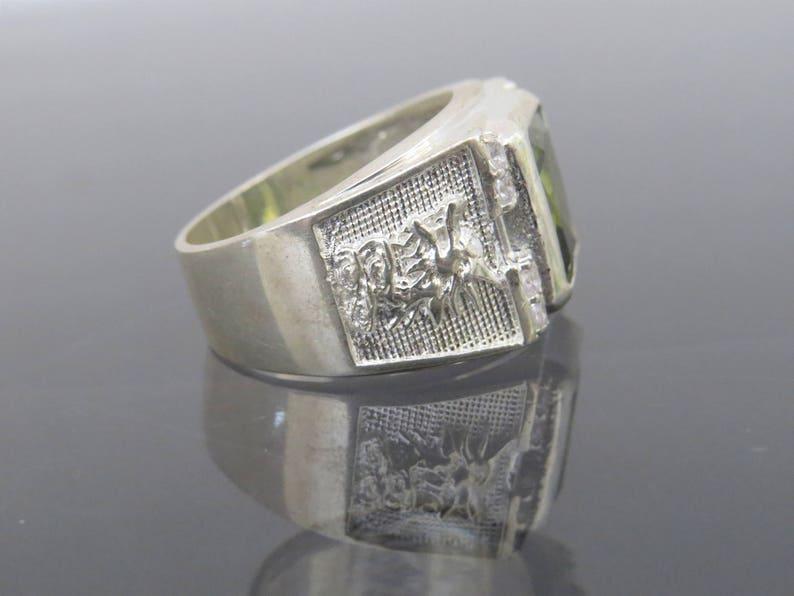 Vintage Sterling Silver Peridot /& White Topaz Dragon Men/'s Ring Size 9