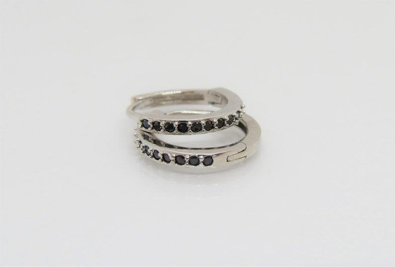 Vintage Sterling Silver Black Sapphire Hoop Earrings